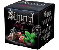 Чай SIGURD пирамидки черный малина-мята Black Tea Raspberry & Mint 15*2гр